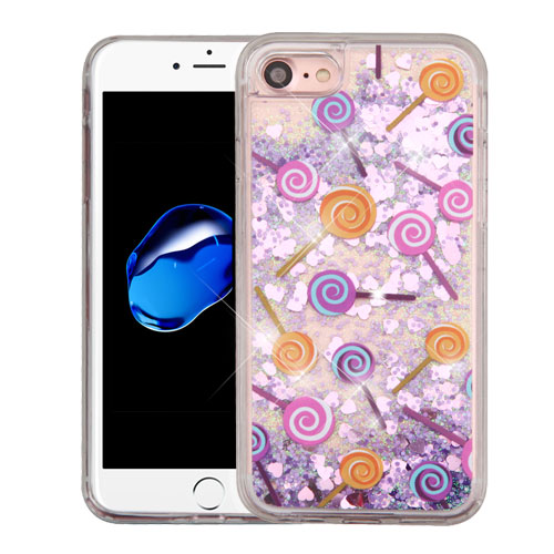 Apple iPhone 8 / 7 / 6S / 6 Case, Slim Crystal Back Bumper Case [Drop Protection] [Lollipops & Purple Hearts] Quicksand Glitter Flexible Border Case with Travel Wallet Phone Stand