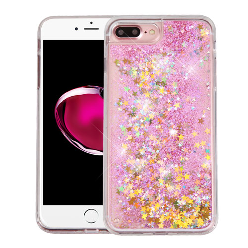 Apple iPhone 8 Plus / 7 Plus / 6S Plus / 6 Plus Case, Slim Crystal Back Bumper Case [Drop Protection] [Baby Pink & Stars] Quicksand Glitter Flexible Border Case with Travel Wallet Phone Stand