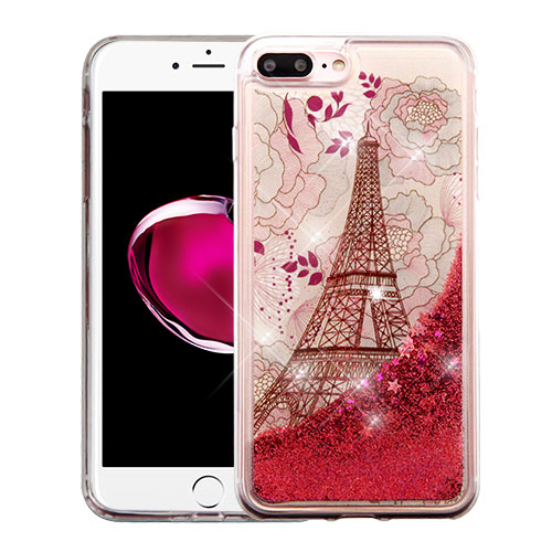 Made for Apple iPhone 8 Plus / 7 Plus / 6S Plus / 6 Plus Case, Slim Crystal Back Bumper Case [Drop Protection] [Eiffel Tower Rose Gold Stars] Quicksand Glitter Flexible Border Case with Travel Wallet Phone Stand by Redshield