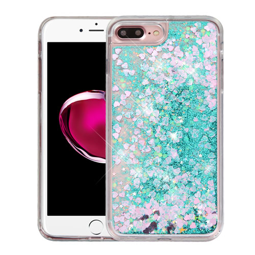 Made for Apple iPhone 8 Plus / 7 Plus / 6S Plus / 6 Plus Case, Slim Crystal Back Bumper Case [Drop Protection] [Green Hearts] Quicksand Glitter Flexible Border Case with Travel Wallet Phone Stand by Redshield