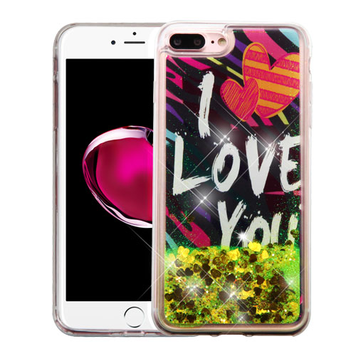 Apple iPhone 8 Plus / 7 Plus / 6S Plus / 6 Plus Case, Slim Crystal Back Bumper Case [Drop Protection] [I Love You & Gold Hearts] Quicksand Glitter Flexible Border Case with Travel Wallet Phone Stand