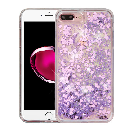Apple iPhone 8 Plus / 7 Plus / 6S Plus / 6 Plus Case, Slim Crystal Back Bumper Case [Drop Protection] [Purple Hearts] Quicksand Glitter Flexible Border Case with Travel Wallet Phone Stand