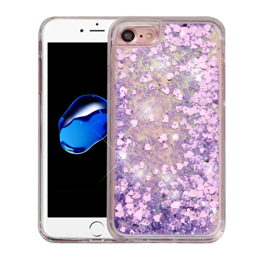 Made for Apple iPhone 8 / 7 / 6S / 6 Case, Slim Crystal Back Bumper Case [Drop Protection] [Purple Hearts] Quicksand Glitter Flexible Border Case with Travel Wallet Phone Stand by Redshield