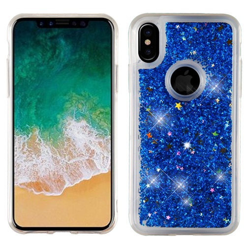 Apple iPhone X Glitter Case, [Blue] Slim Crystal Back Bumper Case [Drop Protection] Quicksand Glitter Flexible Border Case
