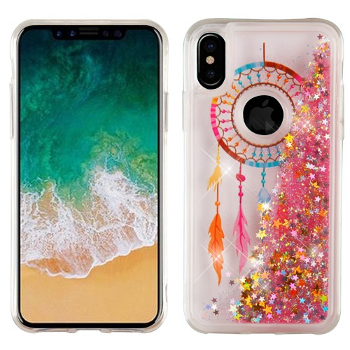 Apple iPhone X Glitter Case, [Dreamcatcher & Gold Stars] Slim Crystal Back Bumper Case [Drop Protection] Quicksand Glitter Flexible Border Case
