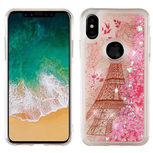 Apple iPhone X Glitter Case, [Eiffel Tower Paris & Rose Gold Stars] Slim Crystal Back Bumper Case [Drop Protection] Quicksand Glitter Flexible Border Case