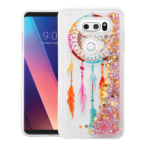 LG V30 Case, Slim Crystal Back Bumper Case [Drop Protection] [Dreamcatcher & Gold Stars] Quicksand Glitter Flexible Border Case