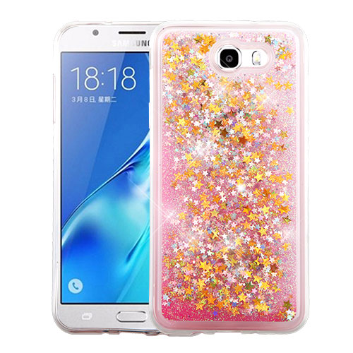 Samsung Galaxy J7 [2017]/ Galaxy J7 Perx/ J7 V/ Galaxy Halo Case, Slim Crystal Back Bumper Case [Drop Protection] [Baby Pink & Stars] Quicksand Glitter Flexible Border Case with Travel Wallet Phone Stand
