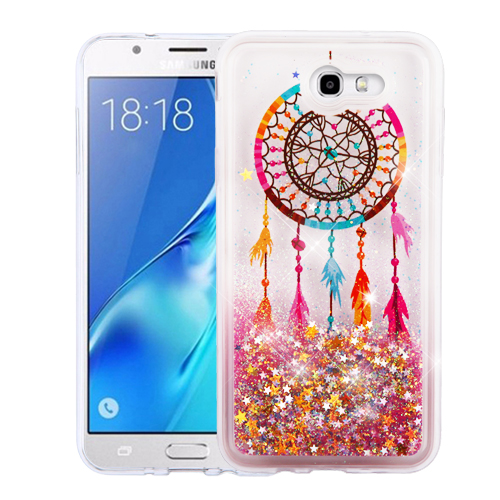 Samsung Galaxy J7 [2017]/ Galaxy J7 Perx/ J7 V/ Galaxy Halo Case, Slim Crystal Back Bumper Case [Drop Protection] [Dreamcatcher & Gold Stars] Quicksand Glitter Flexible Border Case with Travel Wallet Phone Stand