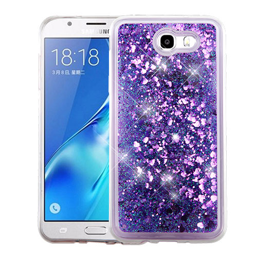 Samsung Galaxy J7 [2017]/ Galaxy J7 Perx/ J7 V/ Galaxy Halo Case, Slim Crystal Back Bumper Case [Drop Protection] [Purple Hearts] Quicksand Glitter Flexible Border Case with Travel Wallet Phone Stand