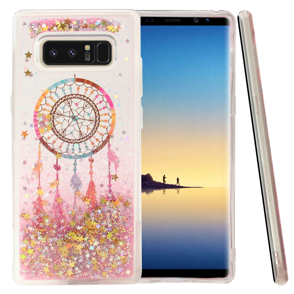 Samsung Galaxy Note 8 Glitter Case, [Dreamcatcher & Gold Stars] Slim Crystal Back Bumper Case [Drop Protection] Quicksand Glitter Flexible Border Case