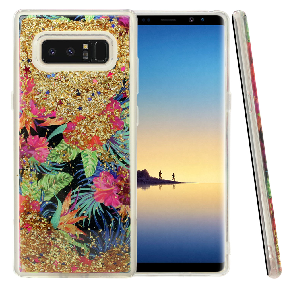 Samsung Galaxy Note 8 Glitter Case, [Electric Hibiscus & Gold] Slim Crystal Back Bumper Case [Drop Protection] Quicksand Glitter Flexible Border Case