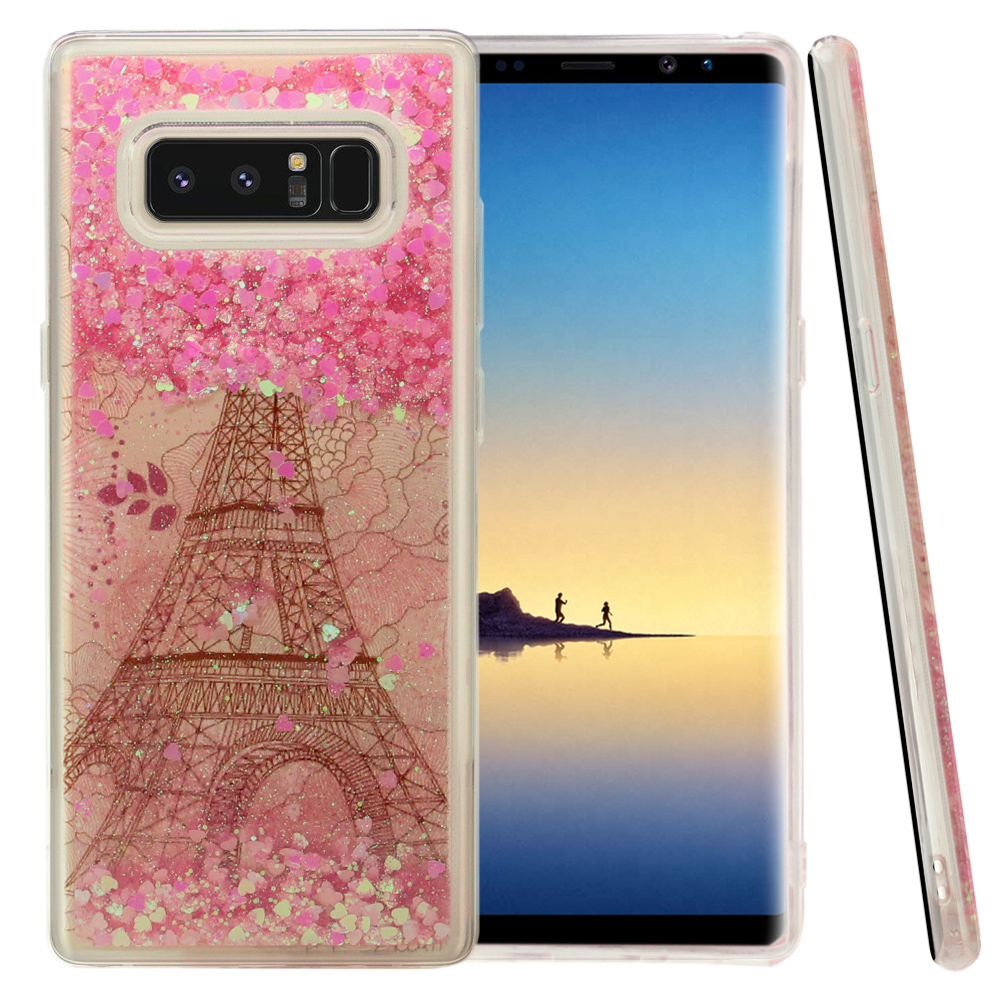 Samsung Galaxy Note 8 Glitter Case, [Eiffel Tower Paris & Rose Gold Stars] Slim Crystal Back Bumper Case [Drop Protection] Quicksand Glitter Flexible Border Case