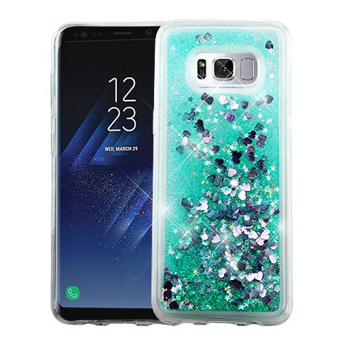 Samsung Galaxy S8 Plus Glitter Case, Slim Crystal Back Bumper Case [Drop Protection] [Green & Hearts] Quicksand Glitter Flexible Border Case with Travel Wallet Phone Stand