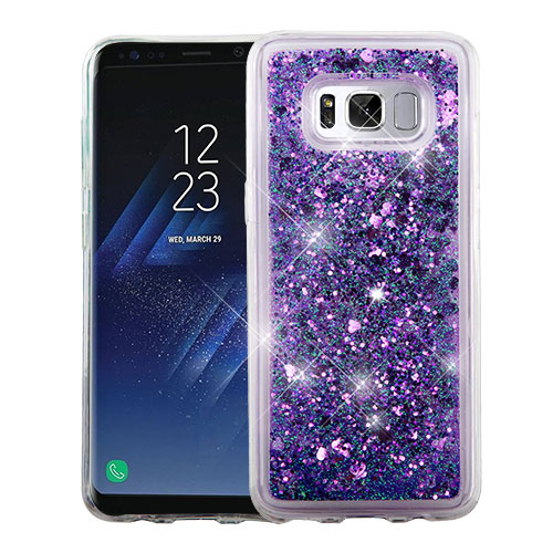 Samsung Galaxy S8 Glitter Case, Slim Crystal Back Bumper Case [Drop Protection] [Purple Hearts] Quicksand Glitter Flexible Border Case with Travel Wallet Phone Stand
