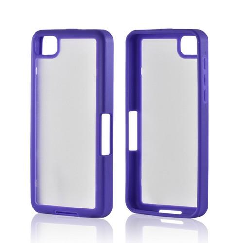 Matte Purple/ Frost White Hard Case w/ Crystal Silicone Border for BlackBerry Z10