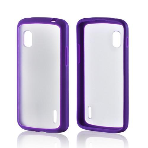 Purple/ Clear Hard Back w/ Matte Silicone Border for LG Google Nexus 4