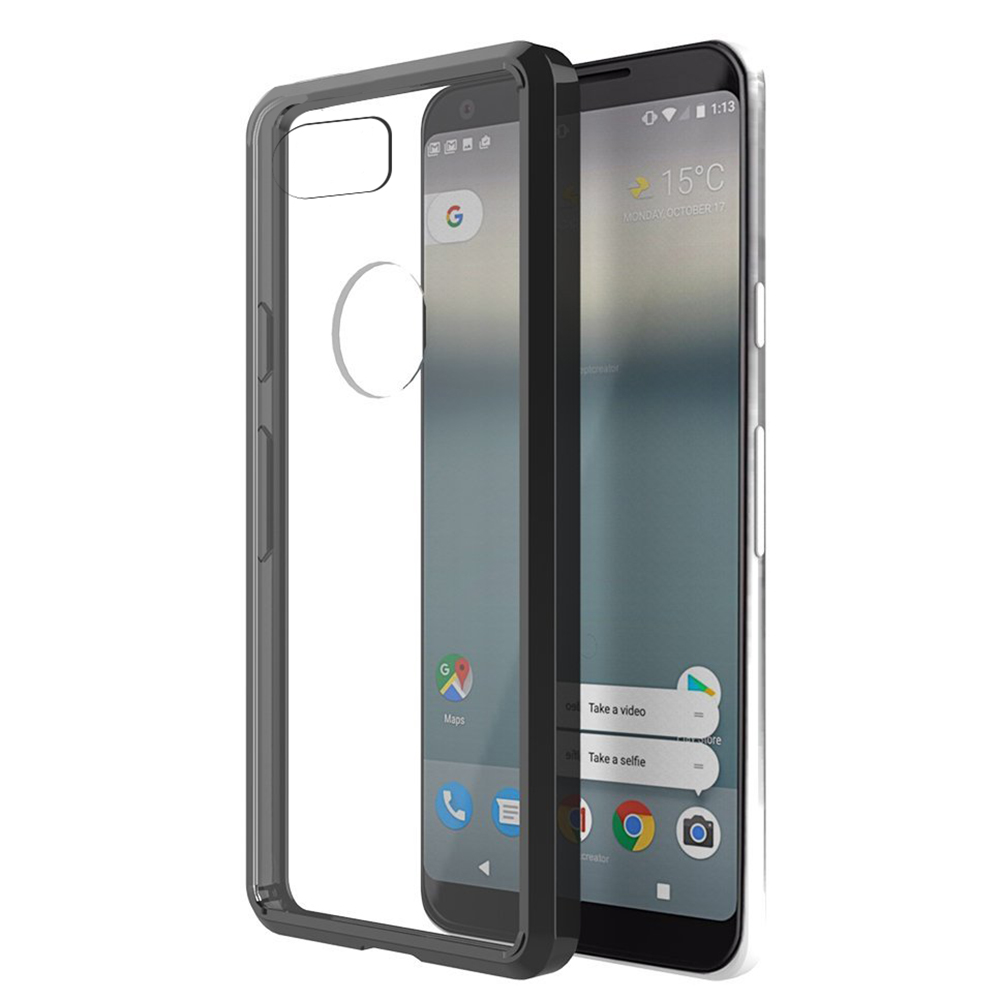 [REDshield] Google Pixel XL 2 Crystal Back Case, [Black & Clear] Fusion Candy Bumper Case [Drop Protection] Flexible Border