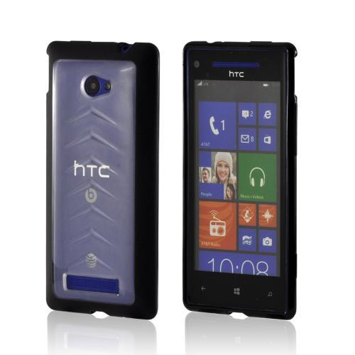 Black/ Frost White Hard Back w/ Gummy Silicone Border for HTC 8X