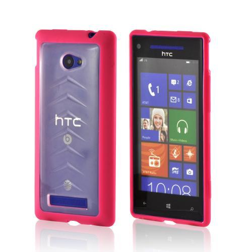 Hot Pink/ Frost White Hard Back w/ Gummy Silicone Border for HTC 8X