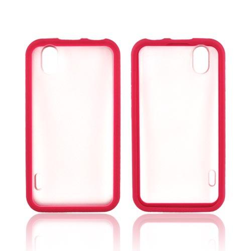 HTC EVO Design 4G Hard Back Case w/ Gummy Crystal Silicone Border - Hot Pink/ Frost White