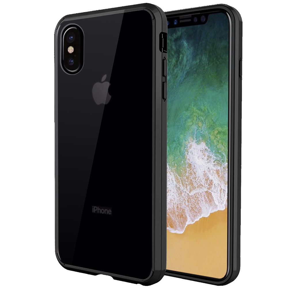 [REDshield] Apple iPhone X Crystal Back Case, [Black & Clear] Fusion Candy Bumper Case [Drop Protection] Flexible Border