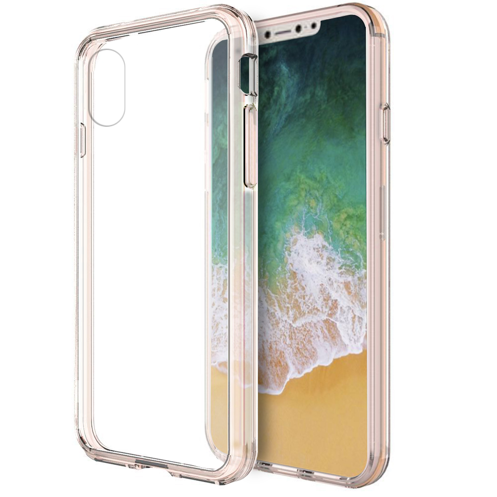 [REDshield] Apple iPhone X Crystal Back Case, [Baby Pink & Clear] Fusion Candy Bumper Case [Drop Protection] Flexible Border