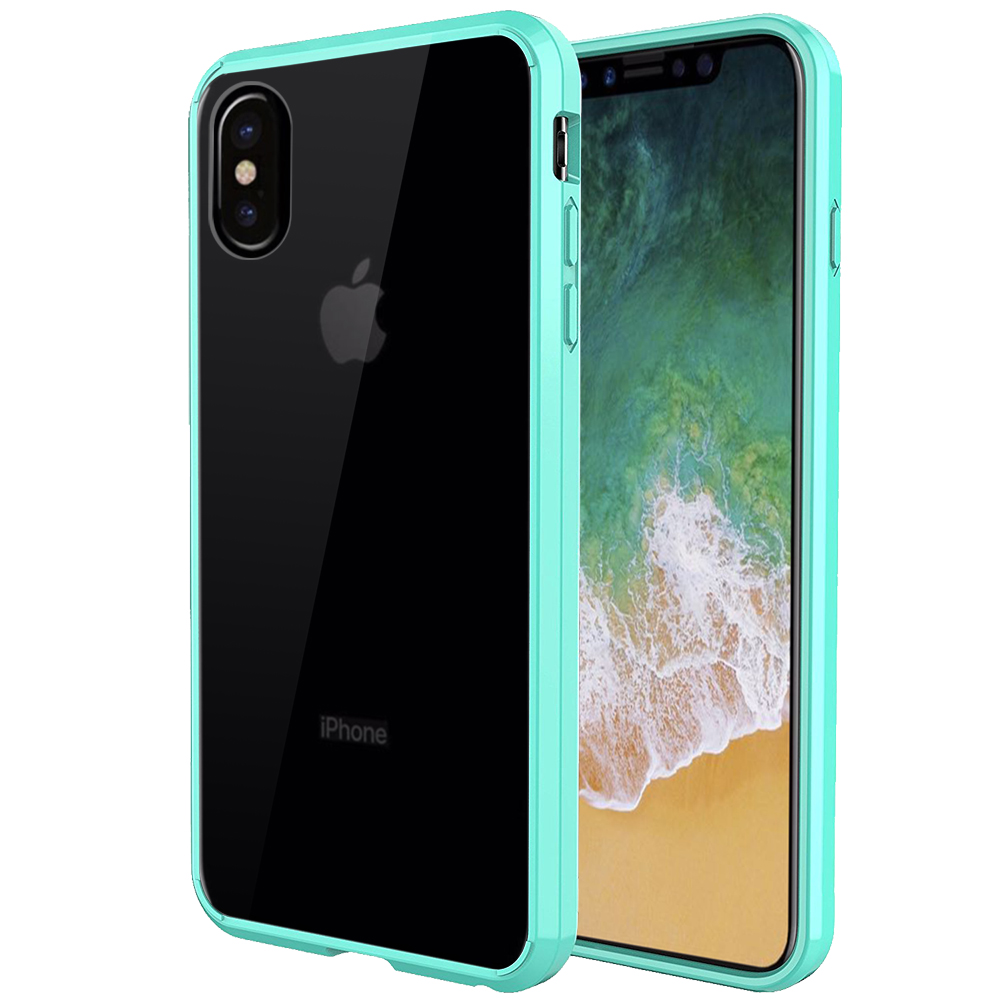 [REDshield] Apple iPhone X Crystal Back Case, [Mint & Clear] Fusion Candy Bumper Case [Drop Protection] Flexible Border