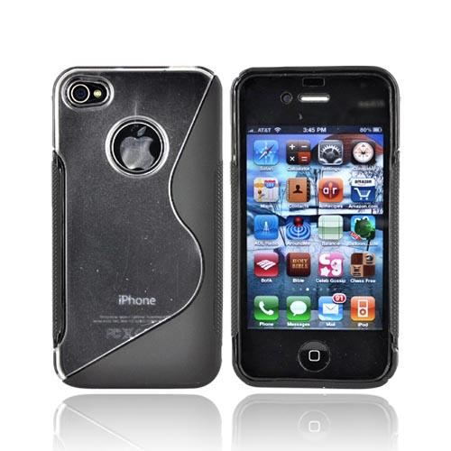 Apple Verizon/ AT&T iPhone 4, iPhone 4S Hard Back w/ Gummy Crystal Silicone Lining - Black and Clear