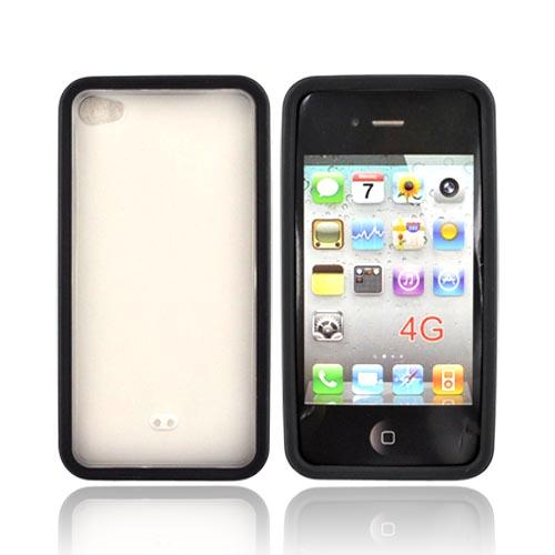 Apple iPhone 4 Hard Case w/ Gummy Silicone Border - Black and Frost White