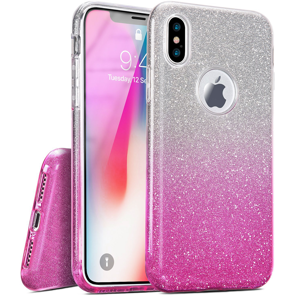 Apple iPhone X Crystal Back Case, [Hot Pink] Two Tone Glitter Hybrid Candy Case [Fashionable Protection] Flexible Plastic TPU Cover