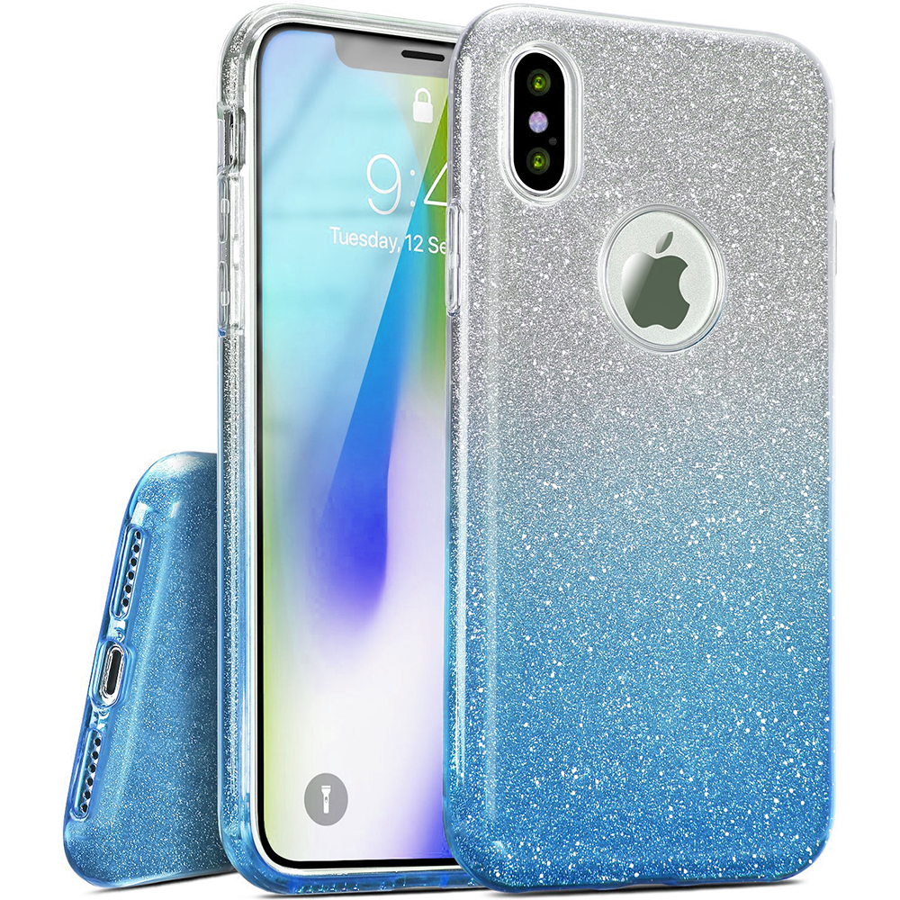 Apple iPhone X Crystal Back Case, [Light Blue] Two Tone Glitter Hybrid Candy Case [Fashionable Protection] Flexible Plastic TPU Cover
