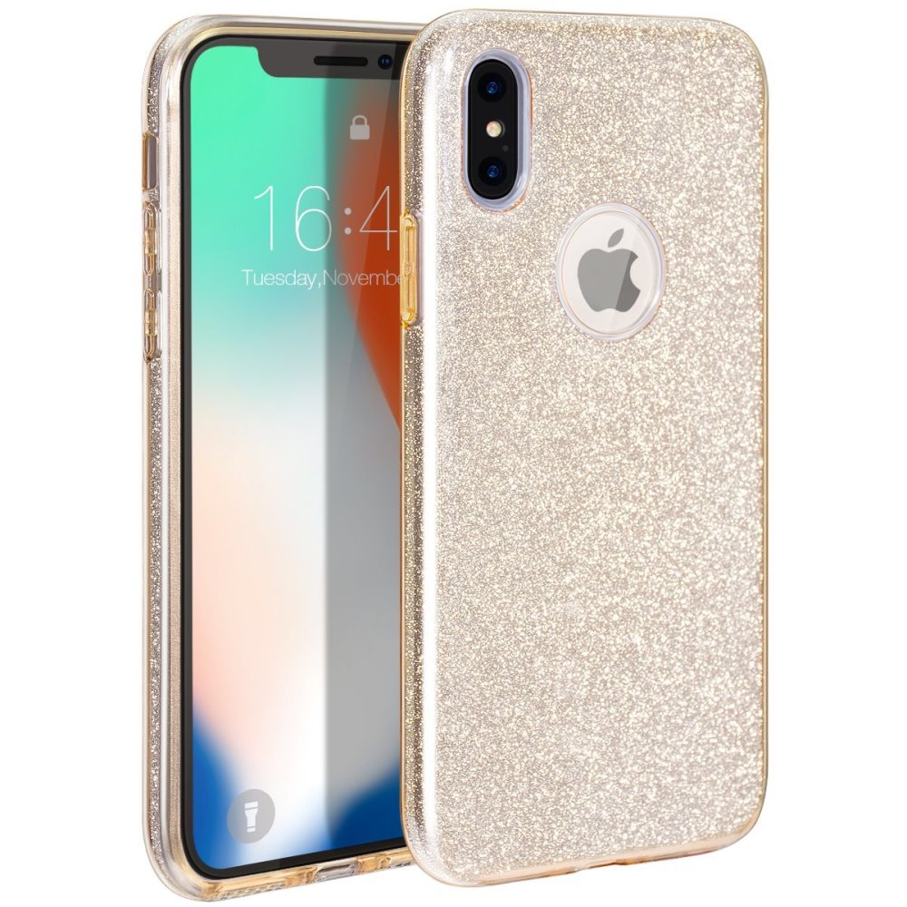 Apple iPhone X Crystal Back Case, [Gold] Glitter Hybrid Candy Case [Fashionable Protection] Flexible Plastic TPU Cover