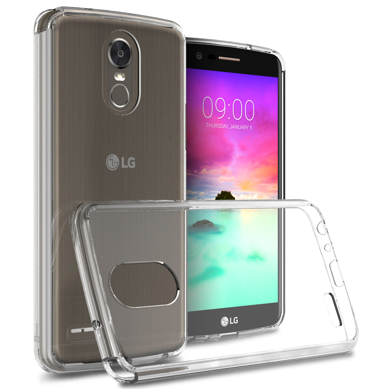 LG Stylo 3/ Stylo 3 Plus Hybrid Case, Crystal Back Bumper Case [Drop Protection] [Clear] Flexible Border Case  with Travel Wallet Phone Stand