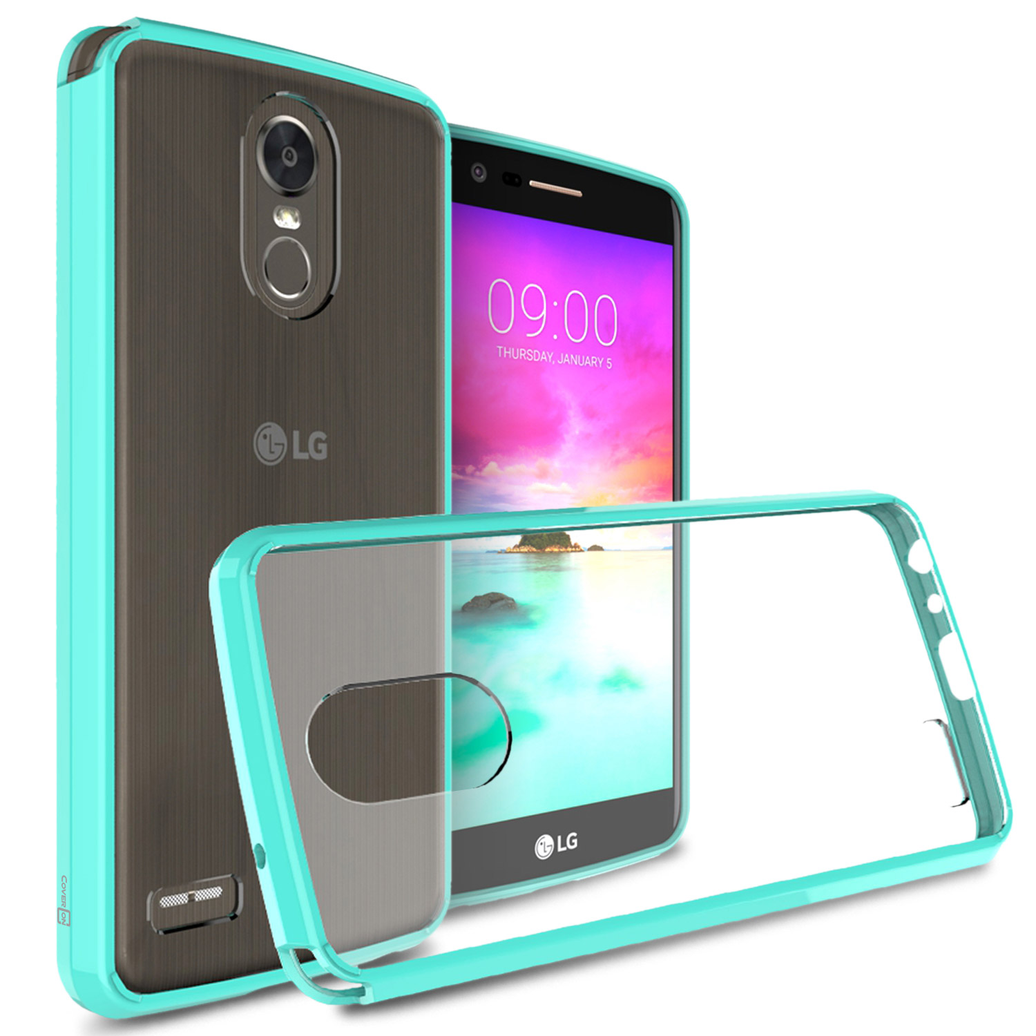 LG Stylo 3/ Stylo 3 Plus Hybrid Case, Crystal Back Bumper Case [Drop Protection] [Mint] Flexible Border Case  with Travel Wallet Phone Stand