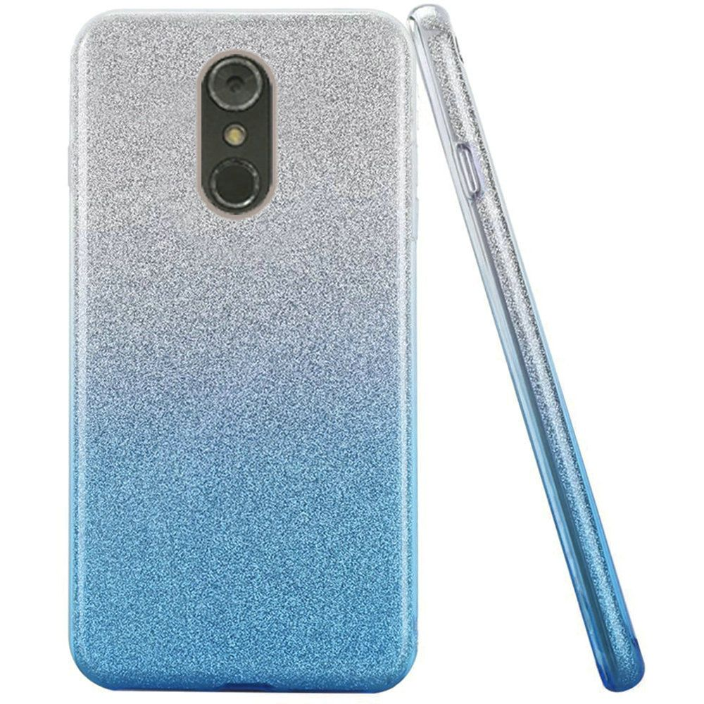 [LG Stylo 4] Crystal Back Case  [Light Blue] Two Tone Glitter Hybrid Candy Case [Fashionable Protection] Flexible Plastic TPU Cover