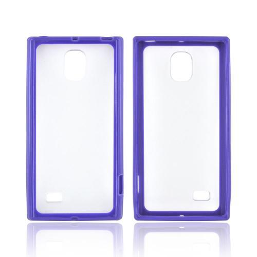 LG Optimus VS930 (Optimus LTE II) Hard Back Case w/ Gummy Crystal Silicone Lining - White/ Frost White