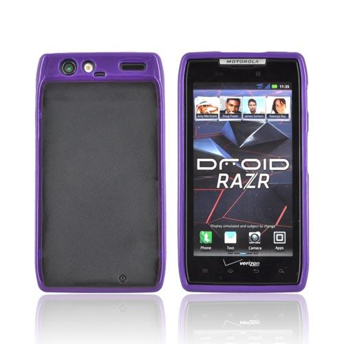 Motorola Droid RAZR Hard Back w/ Gummy Silicone Border - Purple/ Black