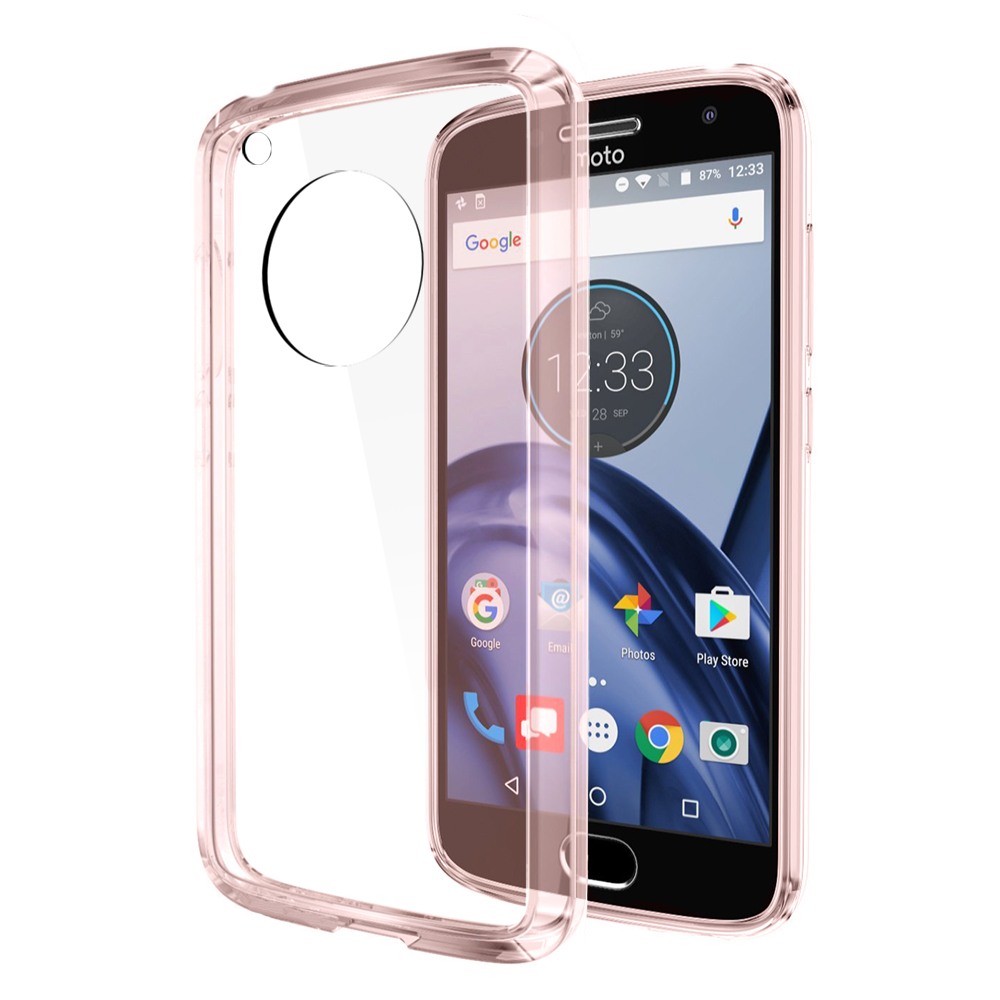 Motorola Moto G5 Case, REDshield [Pink] [Drop Protection] Crystal Back TPU Bumper w/ Flexible Border with Travel Wallet Phone Stand