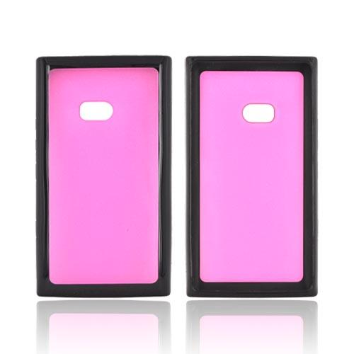Nokia Lumia 900 Hard Case w/ Gummy Silicone Border - Hot Pink/ Black