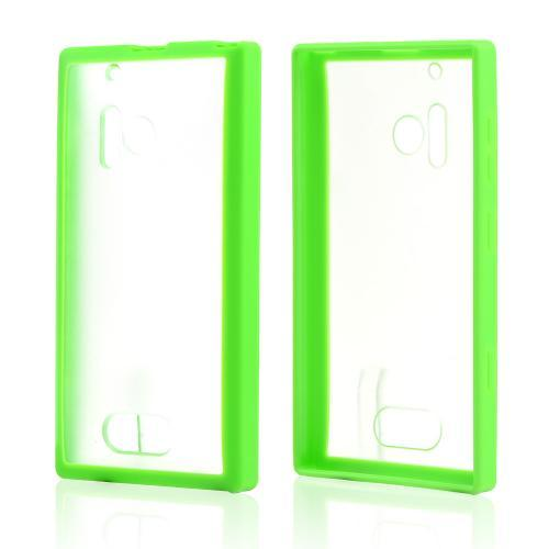 Clear Hard Back w/ Neon Green Crystal Silicone Border for Nokia Lumia 928