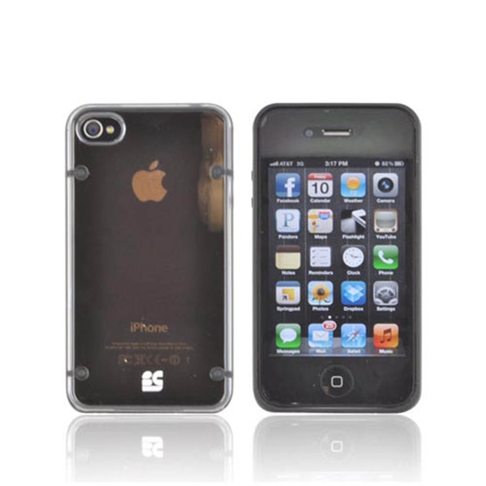 Apple iPhone 4/ 4S AquaFlex Hybrid Hard Case w/ Crystal Silicone Border & Screen Protector - Black/ Clear