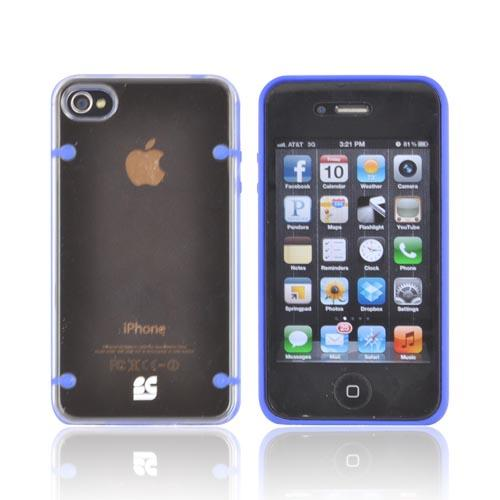 AT&T/ Verizon Apple iPhone 4, iPhone 4S AquaFlex Hybrid Hard Case w/ Crystal Silicone Border & Screen Protector - Blue/ Clear - XXIP4