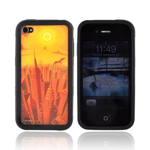 Original Eric Drooker Apple iPhone 4 Hard Back w/ Gummy Silicone Border - Icarus
