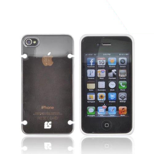 AT&T/ Verizon Apple iPhone 4, iPhone 4S AquaFlex Hybrid Hard Case w/ Crystal Silicone Border & Screen Protector - White/ Clear
