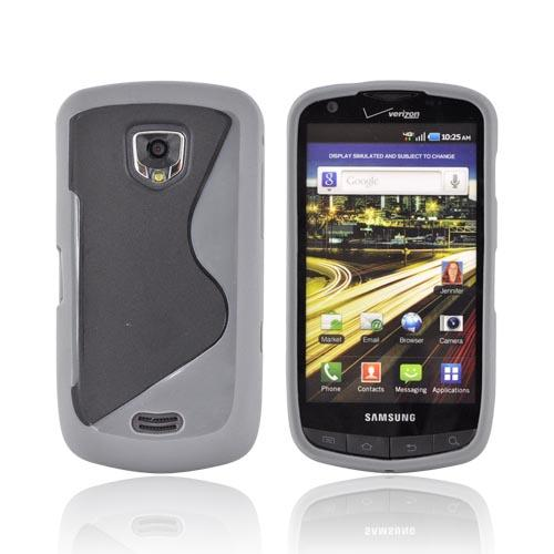 Samsung Droid Charge Hard Back Cover w/ Gummy Border Case - Black/ Gray