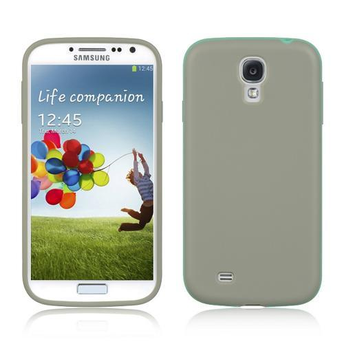 Matte Gray Crystal Silicone Case w/ Aqua Border for Samsung Galaxy S4