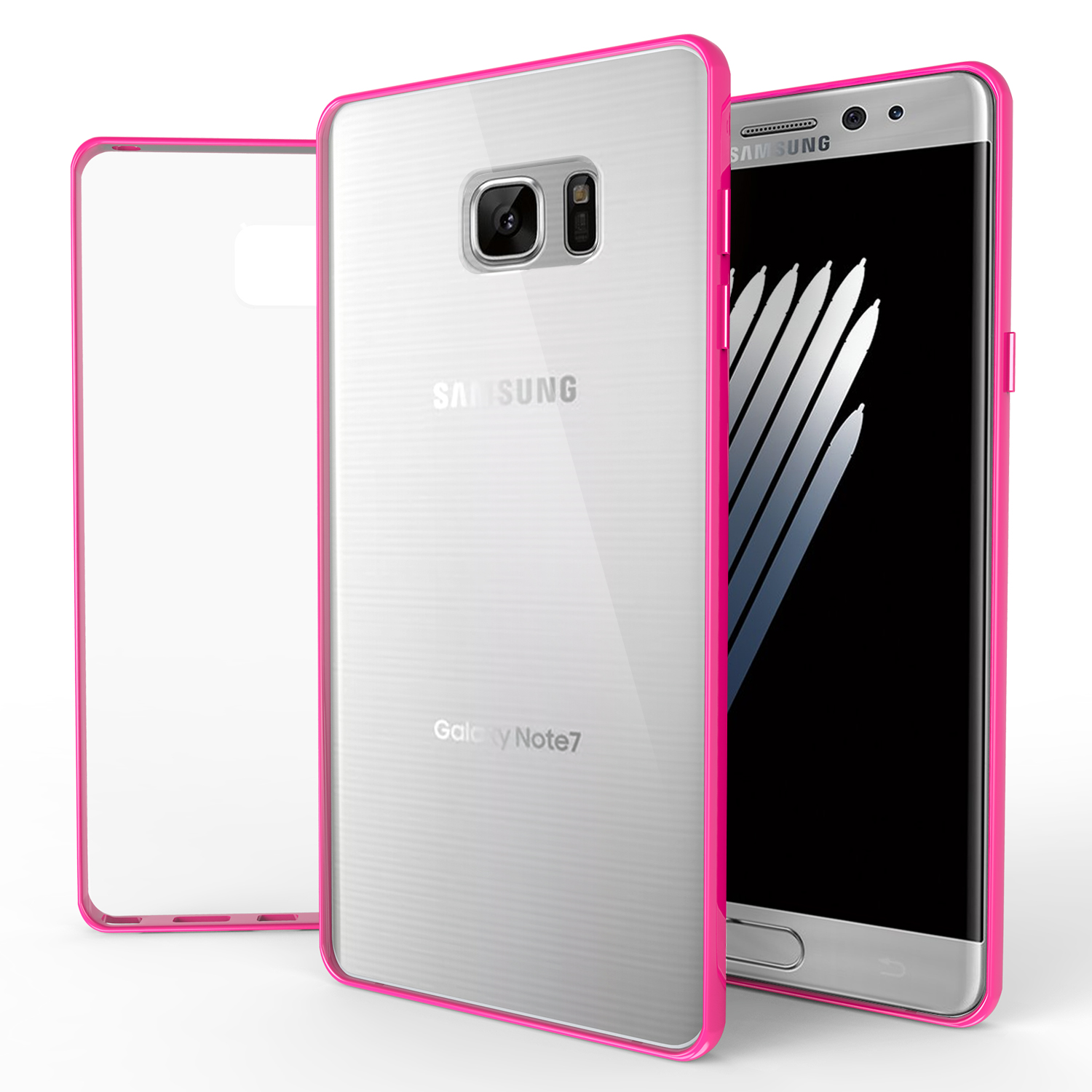 Samsung Galaxy Note 7  Case, REDshield [Hot Pink]  Crystal Clear Back Bumper Case [Drop Protection] Flexible Border Case