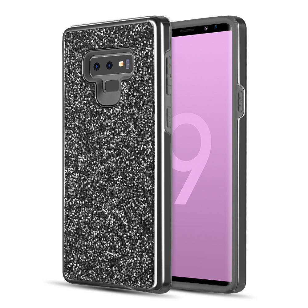 Samsung Galaxy Note 9 Crystal Back Case  [Black] Two Tone Glitter Hybrid Candy Case [Fashionable Protection] Flexible Plastic TPU Cover
