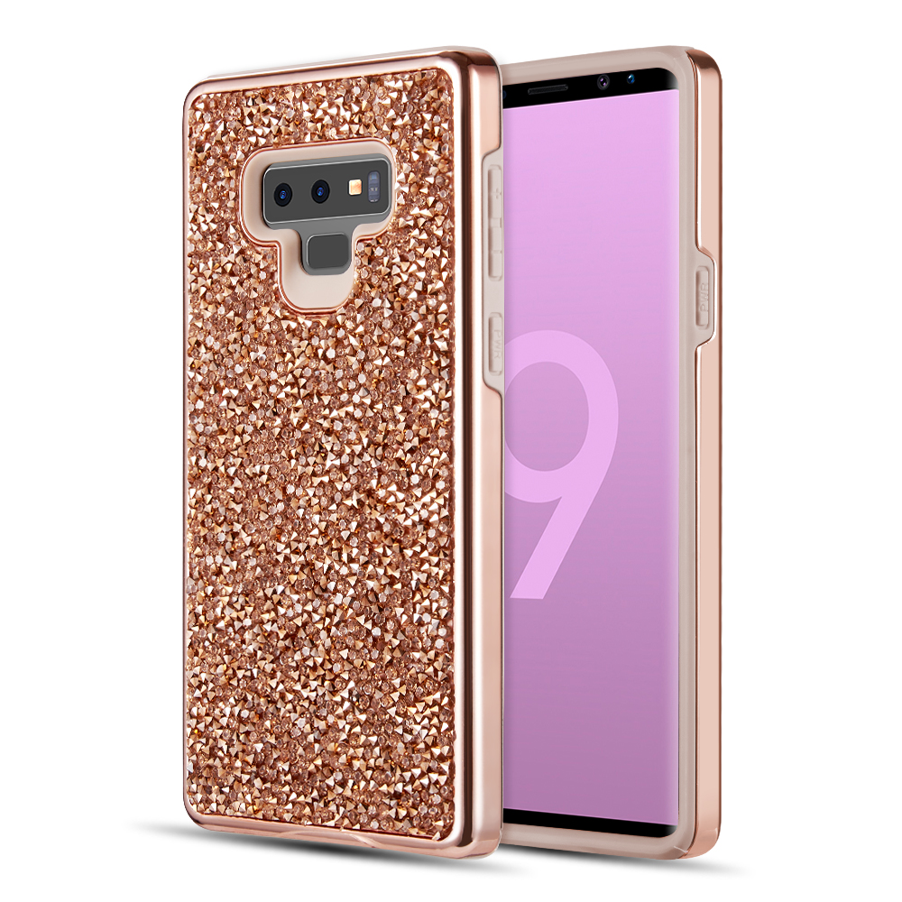 Samsung Galaxy Note 9 Crystal Back Case  [Rose Gold] Two Tone Glitter Hybrid Candy Case [Fashionable Protection] Flexible Plastic TPU Cover